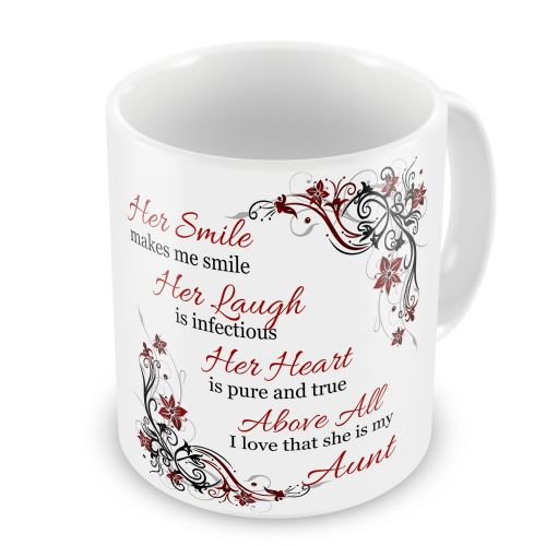 Her Smile Makes Me Smile... I Love That She Is My... Floral Novelty Gift Mug